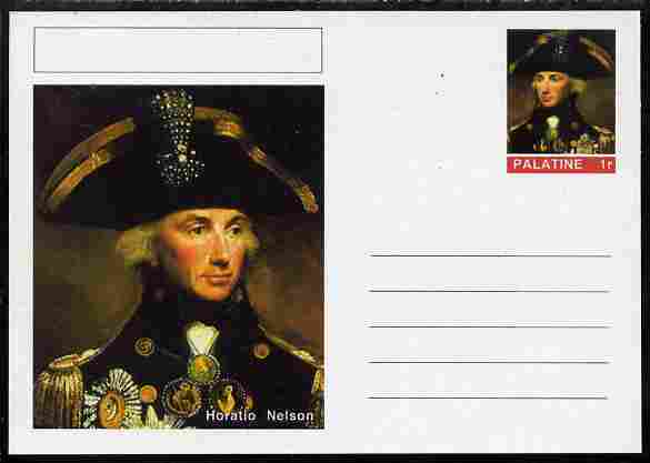 Palatine (Fantasy) Personalities - Horatio Nelson postal stationery card unused and fine
