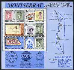 Montserrat 1976 Stamp Centenary perf m/sheet unmounted mint, SG MS 362, stamps on stamp centenary, stamps on stamp on stamp, stamps on maps, stamps on post office, stamps on ships, stamps on stamponstamp