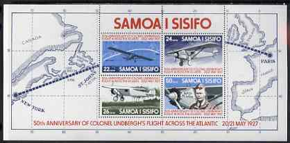 Samoa 1977 50th Anniversary of Lindbergh's Flight perf m/sheet unmounted mint, SG MS 487