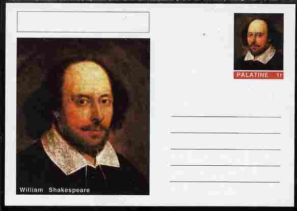 Palatine (Fantasy) Personalities - William Shakespeare postal stationery card unused and fine