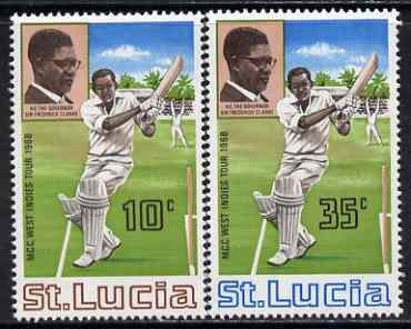 St Lucia 1968 MCC's West Indies Tour perf set of 2 unmounted mint, SG 243-44