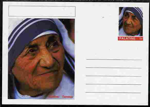 Palatine (Fantasy) Personalities - Mother Teresa postal stationery card unused and fine