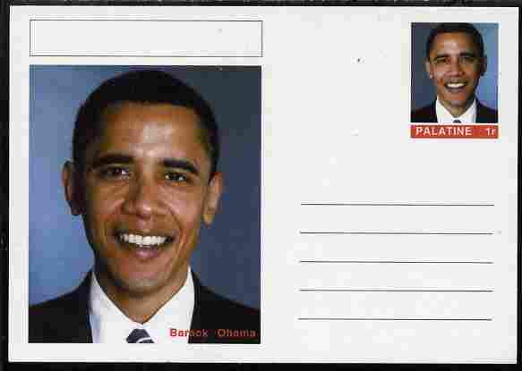 Palatine (Fantasy) Personalities - Barack Obama (44th USA President) postal stationery card unused and fine