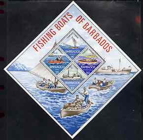 Barbados 1974 Fishing Boats perf m/sheet containing set of 4 diamond shaped unmounted mint, SG MS 484
