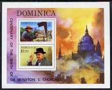 Dominica 1974 Birth Centenary of Sir Winston Churchill perf m/sheet unmounted mint, SG MS 440