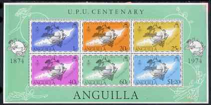 Anguilla 1974 Centenary of UPU perf m/sheet unmounted mint, SG MS 194, stamps on , stamps on  upu , stamps on