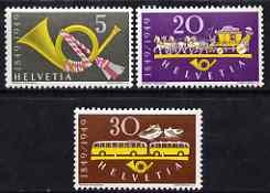 Switzerland 1949 Centenary of Federal Post perf set of 3 unmounted mint, SG 500-502