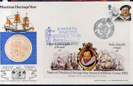 Great Britain 1982 illustrated cover for National Maritime Stamp Exhibition bearing 15.5p Mary Rose stamp with special