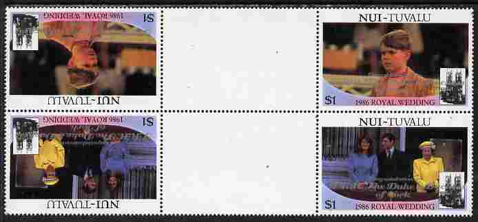 Tuvalu - Nui 1986 Royal Wedding (Andrew & Fergie) $1 with 'Congratulations' opt in silver in unissued perf tete-beche inter-paneau block of 4 (2 se-tenant pairs) unmounted mint from Printer's uncut proof sheet