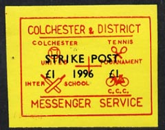 Cinderella - Great Britain 1996 Colchester & District Messenger Service imperf label (red on yellow) showing Football, Tennis, Cricket & Bicycle opt
