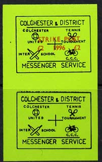 Cinderella - Great Britain 1996 Colchester & District Messenger Service imperf label (black on green) showing Football, Tennis, Cricket & Bicycle opt