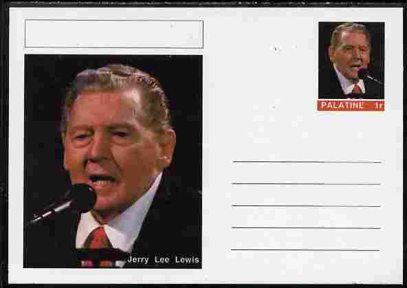 Palatine (Fantasy) Personalities - Jerry Lee Lewis postal stationery card unused and fine