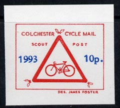 Cinderella - Great Britain 1993 Colchester Cycle Mail Scout Post 10p imperf label on ungummed paper in red & blue*