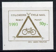 Cinderella - Great Britain 1993 Colchester Cycle Mail Scout Post 50p imperf label on ungummed paper in gold & green*