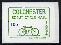Cinderella - Great Britain 1994 Colchester Cycle Mail Scout Post 10p self-adhesive label in green & blue (tete-beche pairs price x 2)