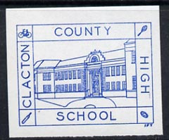 Cinderella - Great Britain 1989 Clacton County High School Private Post imperf label (blue on white) showing Rugby Ball, Tennis Racket, Cricket Bat & Bicycle unmounted mint (tete-beche pairs price x 2)
