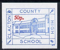 Cinderella - Great Britain 1989 Clacton County High School Private Post imperf label (blue on white) surchareged 50p in red showing Rugby Ball, Tennis Racket, Cricket Bat & Bicycle (tete-beche pairs price x 2) unmounted mint