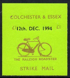Cinderella - Great Britain 1994 Colchester & Essex �1 imperf gummed label (gold on green) showing Raleigh Roadster dated 12th Dec 1994, stamps on postal, stamps on bicycles