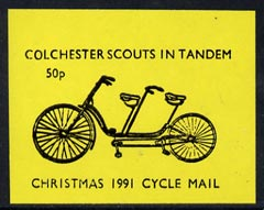 Cinderella - Great Britain 1991 Colchester Scouts in Tandem 50p imperf gummed label (black on yellow) showing Tandem Bicycle inscribed 'Christmas 1991 Cycle Mail' (tete-beche pairs price x 2)