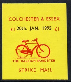Cinderella - Great Britain 1995 Colchester & Essex �1 imperf gummed label (red on yellow) showing Raleigh Roadster dated 20th Jan 1995 (tete-beche pairs price x 2)