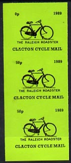 Cinderella - Great Britain 1989 Clacton Cycle Mail 50p imperf gummed label (black on green) showing Raleigh Roadster vert strip of 3, upper label with 5 omitted (0p)