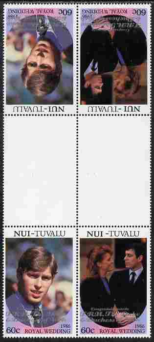 Tuvalu - Nui 1986 Royal Wedding (Andrew & Fergie) 60c with 'Congratulations' opt in silver in unissued perf tete-beche inter-paneau block of 4 (2 se-tenant pairs) unmounted mint from Printer's uncut proof sheet