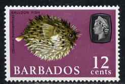 Barbados 1966-69 Porcupine Fish (Balloon Fish) 12c def (wmk sideways) unmounted mint SG 349