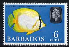 Barbados 1965 Butterflyfish 6c def (wmk upright) unmounted mint SG 327