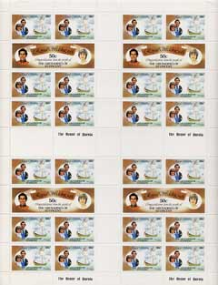 St Vincent - Grenadines 1981 Royal Wedding 50c (Royal Yacht The Mary) in complete uncut sheet containing 4 sheetlets as SG 195b (28 stamps) unmounted mint