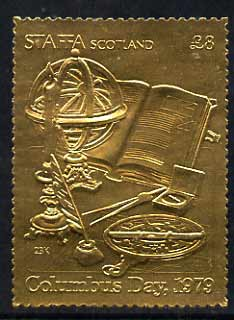 Staffa 1979 Columbus Day \A38 (Globe, Navigation Aids, etc) embossed in 23k gold foil (Rosen #731) unmounted mint
