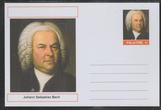 Palatine (Fantasy) Personalities - J S Bach (Composer) postal stationery card unused and fine, stamps on personalities, stamps on bach, stamps on music, stamps on composers, stamps on organ