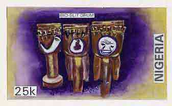 Nigeria 1989 Musical Instruments - original hand-painted artwork for 25k value (Ibid slit drum) by S O Nwasike on card 8.5 x 5 endorsed C5