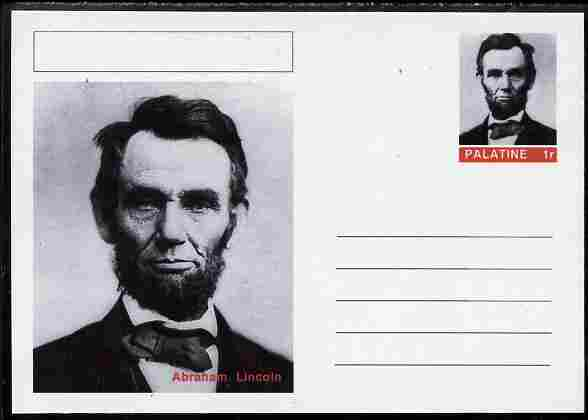 Palatine (Fantasy) Personalities - Abraham Lincoln (16th USA President) postal stationery card unused and fine