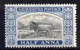 Soruth 1929 Gir Lion 0.5a unmounted mint, SG 50