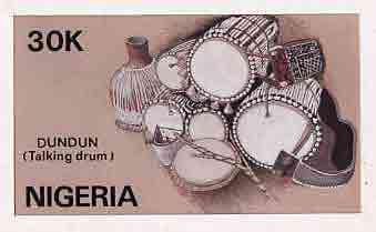 Nigeria 1989 Musical Instruments - original hand-painted artwork for 30k value (Dundun Talking drum) by NSP&MCo Staff Artist Samuel A M Eluare as issued stamp except inscription changed, on card 8.5 x 5 endorsed D6