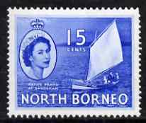 North Borneo 1954-59 Native Prahu 15c (Sail Boat) from def set unmounted mint, SG 379*