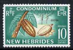 New Hebrides - English 1963-72 Cocoa Beans 10c from def set unmounted mint, SG 99