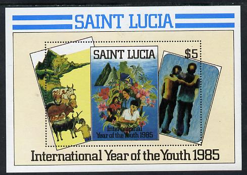 St Lucia 1985 Int Youth Year $5 m/sheet (SG MS 845)  unmounted mint