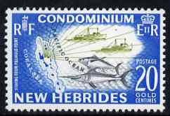New Hebrides - English 1963-72 Fishing 20c from def set unmounted mint, SG 101