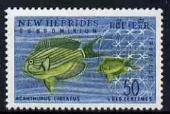 New Hebrides - English 1963-72 Surgeonfish 50c from def set unmounted mint, SG 105