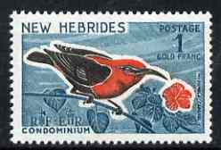 New Hebrides - English 1963-72 Cardinal Honeyeater 1f from def set unmounted mint, SG 106
