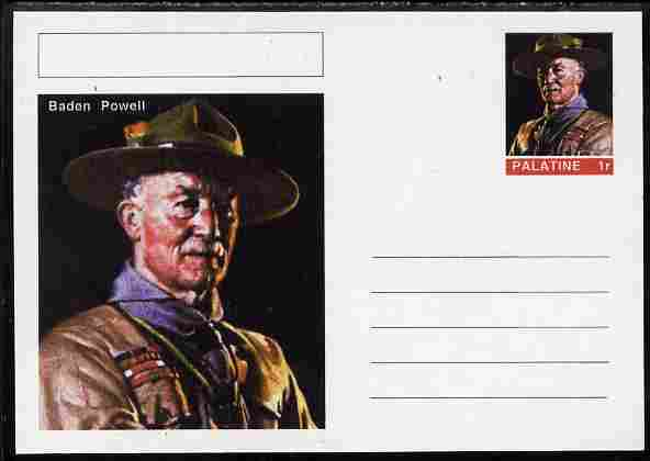Palatine (Fantasy) Personalities - Baden Powell postal stationery card unused and fine