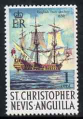 St Kitts-Nevis 1970-74 English Two-decker Warship 1c  from def set unmounted mint, SG 207