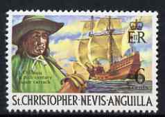 St Kitts-Nevis 1970-74 L'Ollonois & Pirate Carrack 6c from def set unmounted mint, SG 212
