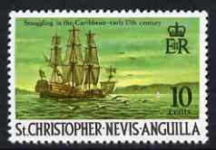 St Kitts-Nevis 1970-74 17th Century Smugglers Ship 10c from def set unmounted mint, SG 213
