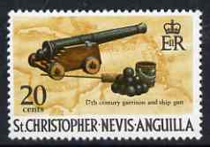 St Kitts-Nevis 1970-74 17th Century Cannon 20c from def set unmounted mint, SG 215