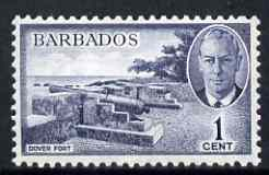 Barbados 1950 Dover Fort 1c from def set unmounted mint, SG 271, stamps on militaria, stamps on cannon, stamps on , stamps on  kg6 , stamps on , stamps on forts