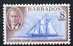 Barbados 1950 Frances W Smith (schooner) 8c from def set unmounted mint, SG 276
