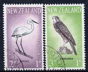 New Zealand 1961 Health - Egret & Falcon set of 2 fine used, SG 806-7
