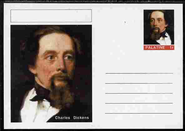Palatine (Fantasy) Personalities - Charles Dickens postal stationery card unused and fine